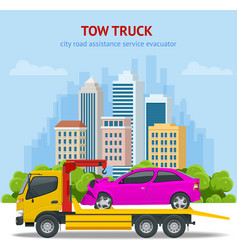 Tow truck roadside assistance tow truck for vector