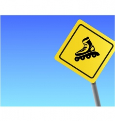 Traffic sign roller sky background vector