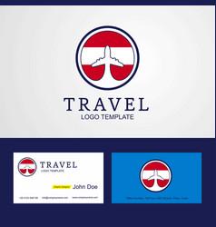 Travel austria creative circle flag logo and vector