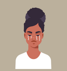 Unhappy terrified girl crying stop violence vector