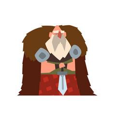 Viking warrior character in animal skin cape vector