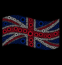 waving british flag mosaic of gear icons vector image