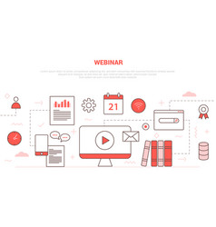 Webinar concept with icon set collection like vector