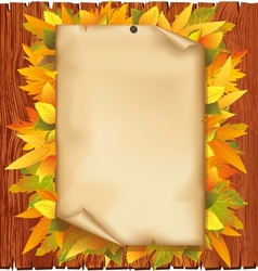 Autumn background with old paper and yellow leaves vector image