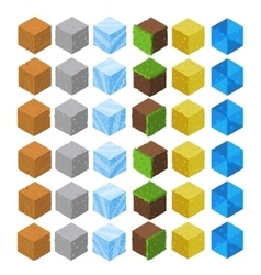 Cartoon Isometric game brick cubes set vector image
