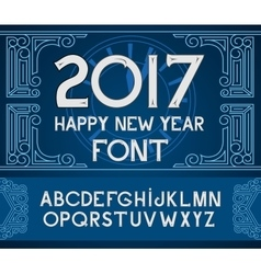 Happy New Year 2017 hand-lettering text on blue vector image vector image