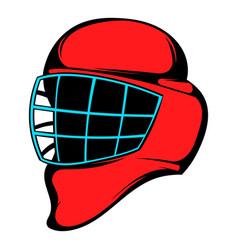 red hockey helmet with cage icon icon cartoon vector image vector image
