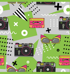 seamless pattern in memphis style with hand drawn vector image vector image