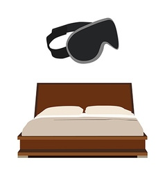 Bed and sleeping mask vector