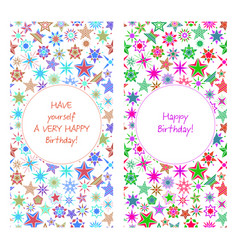 birthday card with colorful cartoon stars vector image vector image