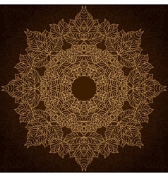 Brown and gold lace circle ornament vector image