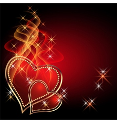 burning two hearts vector image vector image
