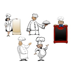 Cartoon chefs and cooks set vector image vector image