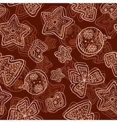 Christmas dark chocolate seamless pattern vector image vector image