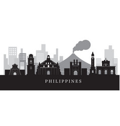 philippines landmarks skyline in black and white vector image vector image