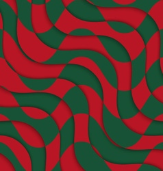 Retro 3D red green overlaying waves vector image