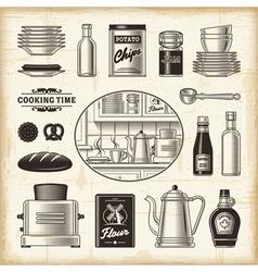 Vintage kitchen set vector
