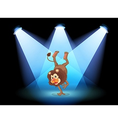 A dancing lion in the middle of the stage vector image vector image