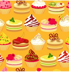 Cakes seamless yellow background vector