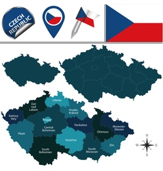 Czech Republic map with named divisions vector image