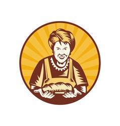 Grandma granny baker cook loaf bread vector image