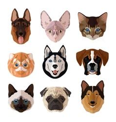 Pets portrait flat icon set vector image vector image