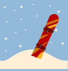 snowboard standing in snow vector image vector image