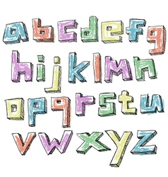 Colorful sketchy hand drawn lower case alphabet vector image vector image