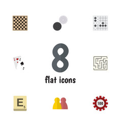 flat icon entertainment set of labyrinth gomoku vector image vector image