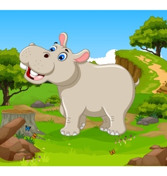 funny hippo cartoon in the jungle vector image vector image
