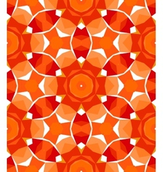 Multicolor geometric pattern in bright red vector image