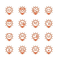 Set of emoji lightbulb emoticons vector image