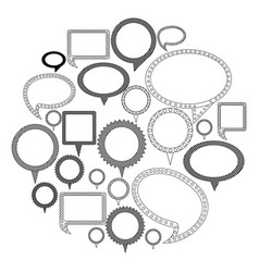 Silhouette differents figures cah bubbles icon vector