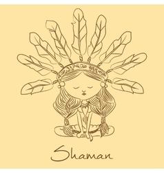 sketch Shaman redskin vector image