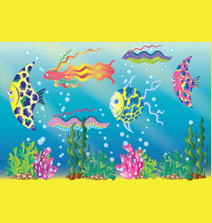 underwater scene with colorful fish and bubbles vector image