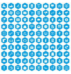 100 digital marketing icons set blue vector image