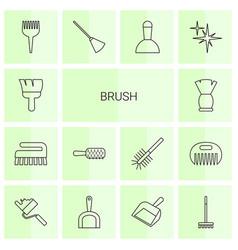 14 brush icons vector