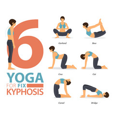 6 yoga poses for workout in kyphosis fix concept vector