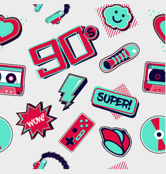 90s style seamless pattern funky style drawning vector image