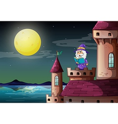 A castle port with a wizard reading a book vector