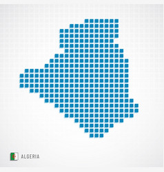 algeria map and flag icon vector image