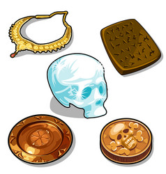 Ancient objects and glass human skull vector