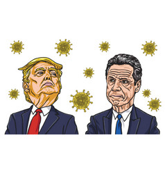andrew cuomo and donald trump coronavirus cartoon vector image