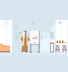 Arab businessman presenting financial graph on vector