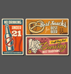 Beer and snacks retro posters vintage cards vector