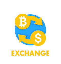 bitcoin exchange icon over white vector image