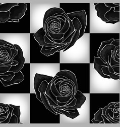 Black roses on chessboard background vector