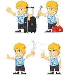 Blonde Rich Boy Customizable Mascot 8 vector