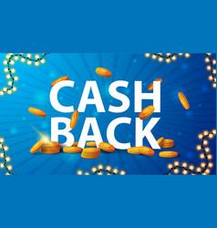 Blue cashback banner with a large volume header vector