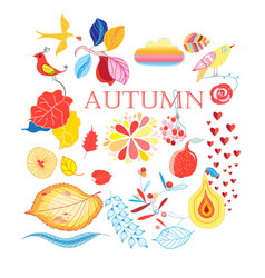 Bright collection autumn elements vector